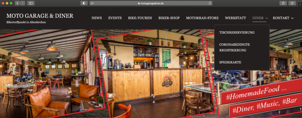 Website Moto Garage & Diner von Rüttger Mediendesign